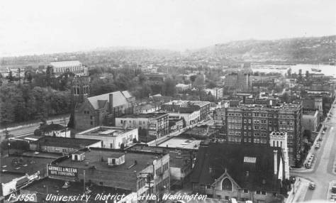 """University Congregational's second sanctuary at the northeast corner of 43rd Street and Brooklyn Avenue appears bottom-right in this look southeast across the """"Ave"""" and part of the UW campus from the Meany Hotel."""