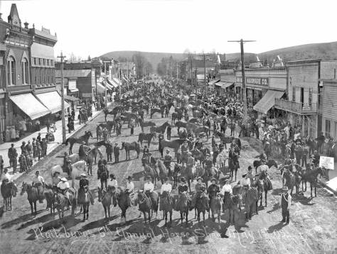 "Still in the Palouse, here for the 1909 horseshow on the main street of Waitsburg.  Compliments of the local historical society, Jean and I used this in our book of a few years back, ""Washington Then and Now.""  Below is Jean's repeat.   For the fuller story, please consult the book itself."