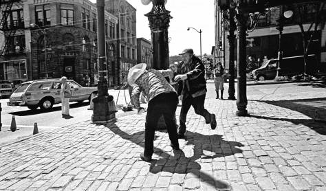 It has reached that nighty-bears (copyright) moment before we are finished, this time with lynching related extras.  Until we return in the morning - or sometime tomorrow - to continuing dressing our figures, here is a James Street related skirmish I photographed in the early 1980s.  This, we hope, will momentarily satisfy the urges for sensational news we may have nurtured within.