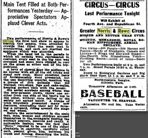 "Two from The Times on the Norris and Rowe circus during their May, 1909 visit to the ""old grounds."""