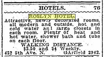 Another Times classified for the Roslyn Hotel, this one from Oct. 17, 1927, indicates that in the eighteen years that separates them inflation has, it seems, little effect.  In two more years with the Great Depression, lodgings at the hotel may well have depressed as well.