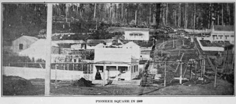 Yesler's home at the center with James Street to the right of it, typically dated 1860.