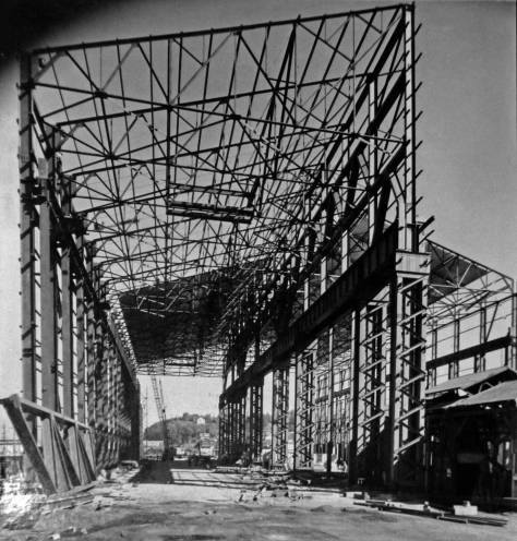 Steel framework in place during the construction of the electric furnace building in the late 1950s.  [Courtesy MOHAI]