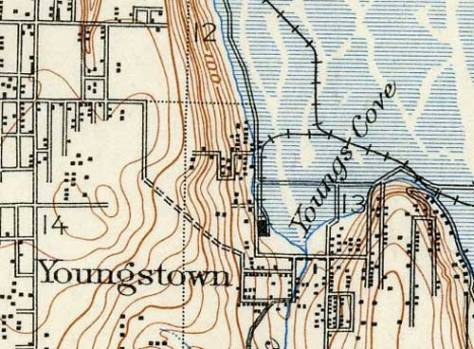 A detail from a 1909 map of Seattle marking both Youngstown and Youngs cover.  Seattle Steel is noted with its footprint.  [Courtesy, Greg Lange]