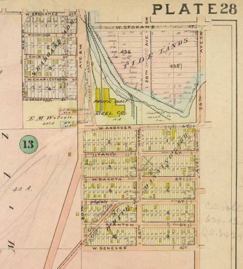 The plant and the neighborhood in a detail pulled from the 1912 Baist Real Estate Map.  Note how the tideflats of Youngs Cove have been drawn for sale, reclamation and development - to and by the steel manufacturers.