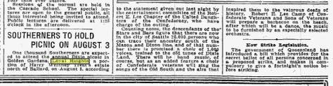 The Time July 7, 1921 report on the Southerners - one thousand of them! - plans to picnic at Golden Gardens.