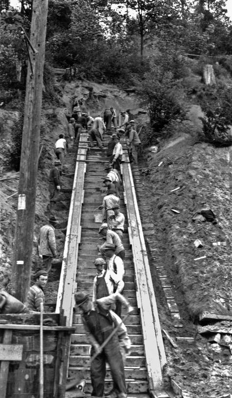 Works Progress Administration (WPA) depresson-time construction of steps to the Golden Gardens beach.  (Courtesy, Municipal Archive)