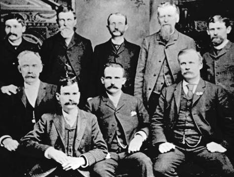 Here in the spirit of our Mr. Wallingford forgetfulness is the Seattle City Council in 1889 - or near it - with Wallingford sitting among them.  Alas I know longer remember which of these is our namesake, but I'm pretty sure that that is Mayor Moran in the middle, bottom row.  Moran was mayor during the city's Great Fire of 1889.