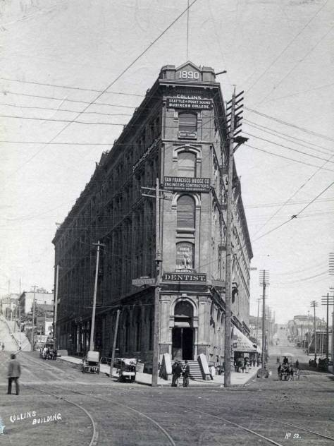 After the fire of 1889 Collins raised this namesake business and hotel block.  The economic crash of 1893 had him selling office spaces cheap, for the building would not support a hotel - until the beginning of the gold rush in 1897.  Collins then changed the name to Seattle Hotel.