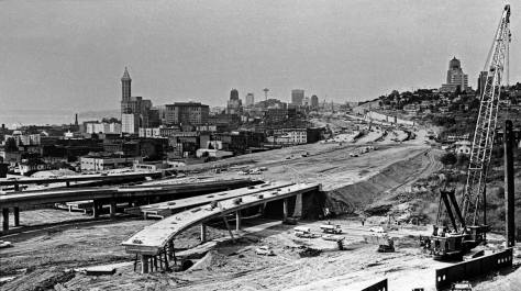 Another but narrower and earlier look into the I-5 Freeway construction from Beacon Hill.  (Courtesy, The Seattle Post-Intelligencer)