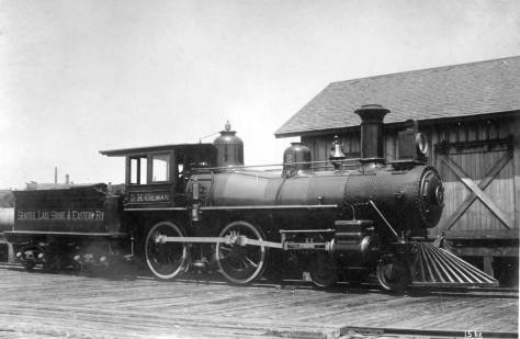 The D.H. Gilman engine on the Seattle Lake Shore and Eastern Railroad line - perhaps in Gilman, later named Issaquah.