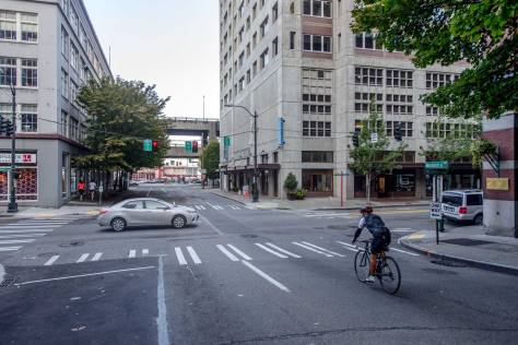 NOW: Looking west towards the waterfront on Madison Street through its intersection with Western Avenue.