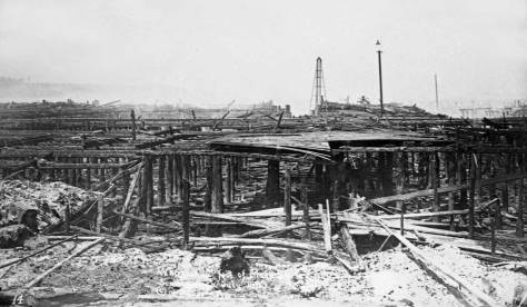 This post-1889 fire claims to show its ruins at the foot of Madison Street.  (Courtesy Michael Maslan)