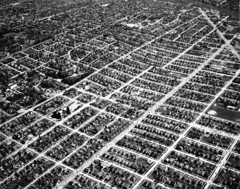 """The grid of eastern Ballard - or Freelard aka Ballmonst - reveals with this April 25, 1947 aerial, courtesy of Ron Edge.  Upper right is Leary Way's last or most southeasterly section before turning (at the top) east into Fremont """"proper."""""""