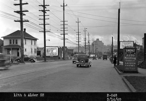 Looking south on 12th Avenue to the corner of Alder Street, on March 14, 1940.
