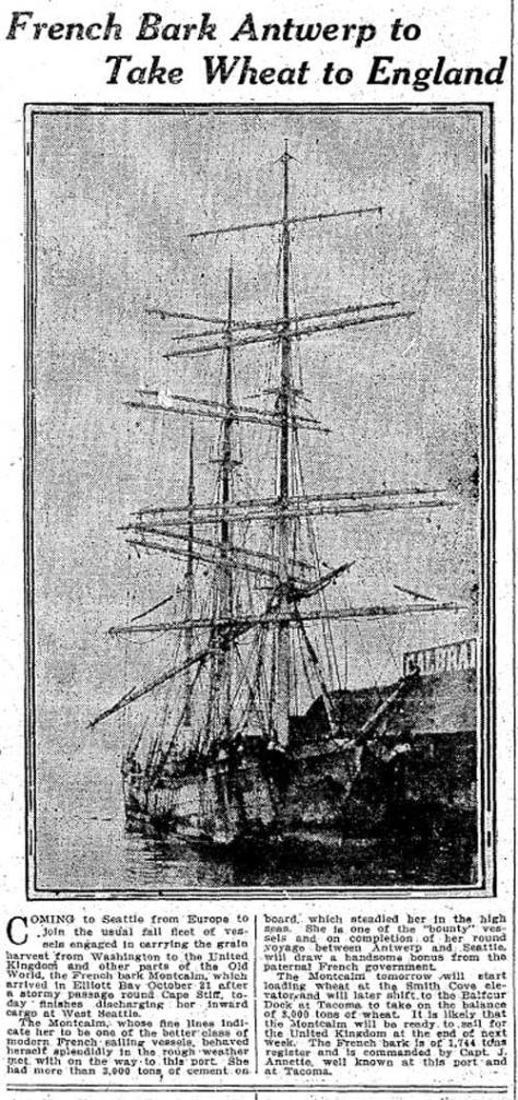 The Montcalm at the Wall Street Pier as illustrated in the Seattle Times for Nov. 2, 1910, and as mistakenly titled the Antwerp.  (Courtesy, Seattle Public Library and The Seattle Times)