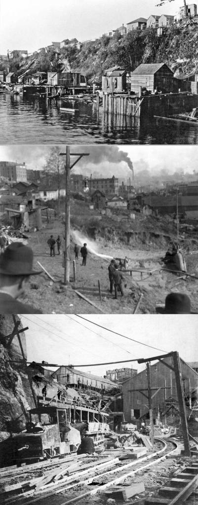 Top to Bottom:   Sheds on the waterfront and above it on the bluff near the foot of Lenora Street.   -   Water cannons carving the cliff for construction of the tunnels north portal near the foot of Virginia Street, 1903.  - Looking down the tracks from Railroad Avenue to the tunnel construction at the North Portal.