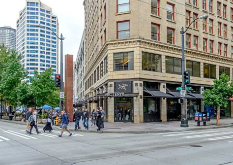 NOW: Westlake was cut through from Fourth and Pike to Denny Way in 1906-7.  The Seaboard Building (1907-9) replaced the small storefronts on the northeast corner.