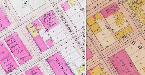 On the right side of this pair, the northeast quarter of C.D. Boren's Block 32 has been cleared of all, including the C.C. Terry home, by the time this 1908 Baist Real Estate map was assembled.  The row houses survive, however, at the northwest corner of James and 4th Avenue.   In the detail from the Baist map of 1912, the row is gone and the Terry home site filled with a rectangular shaped brick structure.