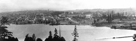This somewhat soft panorama of the University District was photographed in 1915-16 when the bungalow at 3722 University Way (then still named 14th Ave. NE) was either being constructed or the first resident were moving in.