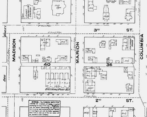 1884 Sanborn map with the Stetson-Post row lower-left.