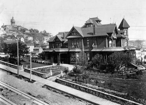 Henry and Sara Yesler's new mansion was one of the first of Boone's designs on settling in Seattle.  This view looks at it southeast across James Street (and its cable car tracks), and includes the new (in 1891) King County Court House on the  horizon.