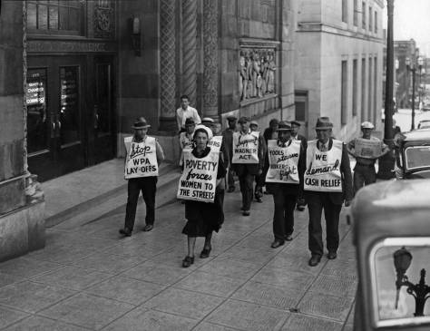 THEN: Depression-era protestors climb Columbia Street sidewalk along-aside Seattle architect Harlan Thomas's elegant Seattle landmark that opened in 1925 as home to the by then already forty-three year old Seattle Chamber of Commerce.  (Courtesy, Museum of History and Industry)