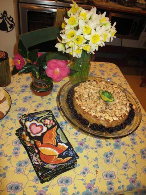 Daffodiles and dessert, formerly on Julie Pashkiss' kitchen table.