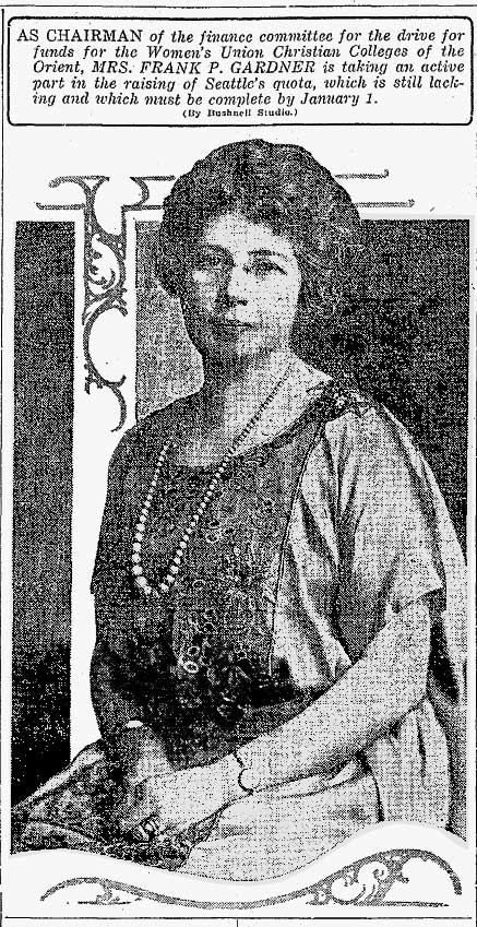 Sophie Gardner's portrait published in the Dec. 22, 1922 issue of The Seattle Times.