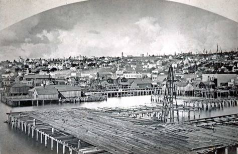 The Stetson-Post row is easily distinguished in this 1882 photo by Watkins about one-fourth of the way in (to the right) of the left border.  Watkins took his panorama - this is but one part - from the King Street Coal Wharf.  The new Ocean Dock is under construction in the foreground.