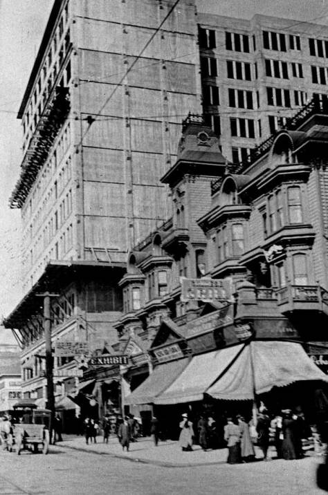 The Stetson-Post with the commercial conversion of its stairs to shops.  This dates from 1906 when the Empire Building behind it here at the southeast corner of Madison and Second, was still under construction. [Courtesy, Michael Maslan)
