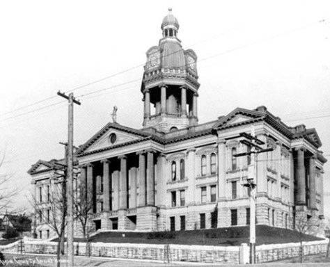 King County Courthouse look northeast from the corner of Seventh Ave. and Alder Street.   The Boone home is out-of-frame to the left.