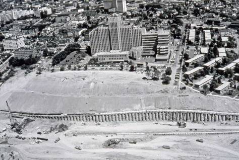 Freeway Construction showing the construction of the retaining wall below what was 7th Avenue.