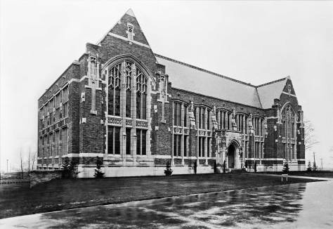 "THEN: Named for a lumberman, and still home for the UW's School of Environmental and Forest Sciences, the upper floor's high-ceilinged halls, including the Forest Club Room behind Anderson Hall's grand Gothic windows, were described for us by the department's gregarious telephone operator as ""very popular and Harry Potterish.""   (Courtesy Lawton Gowey)"