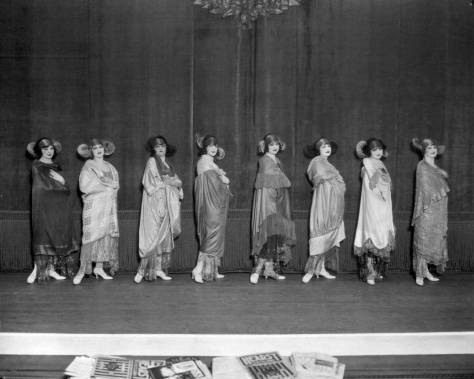 Mid-20's chorus line - or posing players - at one Seattle's busiest vaudeville stage.  [Courtesy, MOHAI]