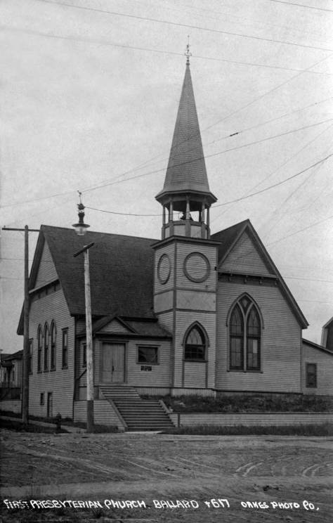 As the real photo postcard artist Oakes captions it, this is the First Presbyterian Church of Ballard at