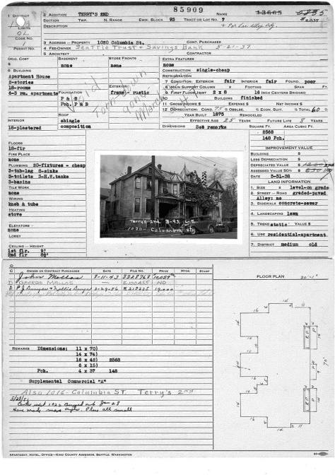 The King County Tax Card for the row at 1020 Columbia with a photo of the row in 1937.  Courtesy Washington State Archive