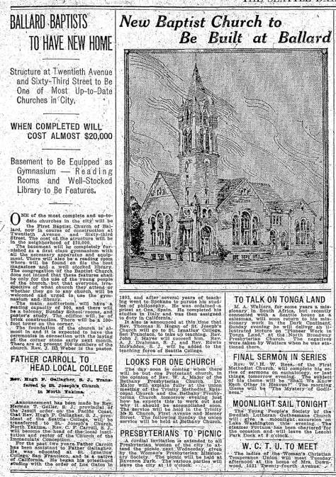 An early sketch of the church on the eve of its construction, when it was still the First Baptist Church of Ballard.  The Seattle Times clipping is dated August 30, 1910.