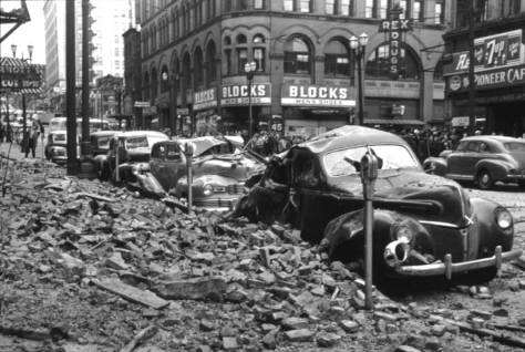 Rubble dropped from the roof of the Seattle Hotel during the 1949 earthquake.  (Courtesy, Seattle Post-Intelligencer)