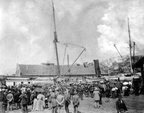 "The Portland in port in 1897, having returned with its ""ton of gold"" to the Schwabacher Wharf"