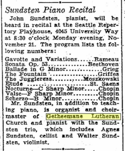 A Seattle Times clip from Nov. 13, 1932, which names the members of the family trio. (Courtesy, John Sundsten)