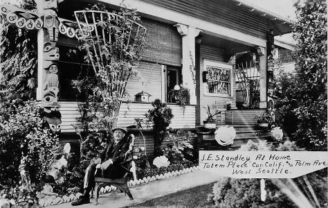 """THEN: Totem Place, at 1750 Palm Ave. S.W., was home for Joseph Standley proprietor of Ye Old Curiosity Shop on Colman Dock. His death notice in The Seattle Times for Oct. 25, 1940 described the 86-year-old """"Daddy"""" Standley as """"almost as much a part of Seattle's waterfront as the waves that dash again the seaweall."""""""