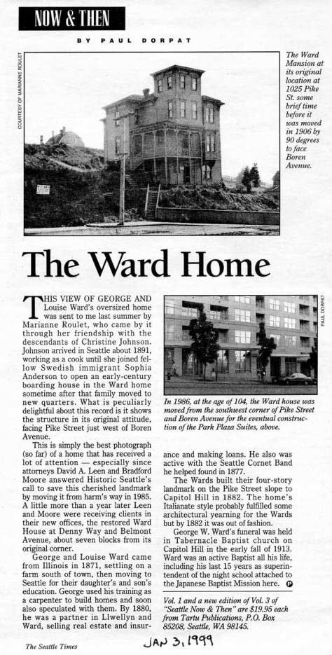 The WARD home at Boren and Pike.  First appeared in Pacific, January 3, 1999.