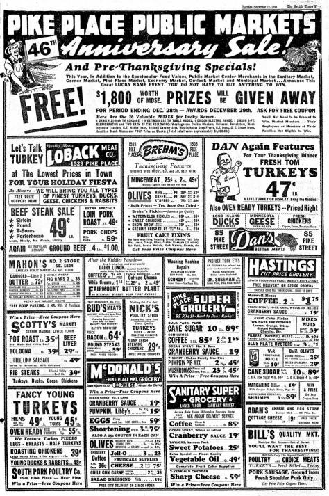 A Market full-page ad from the Seattle Times for nov. 19, 1953.