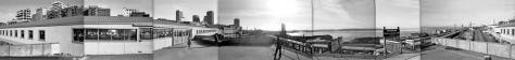 I took this roughly merged 360 degree pan from the Desimone Bridge ca. 1980, and so about five years after the razing of the Municipal Market Building. (Dorpat)
