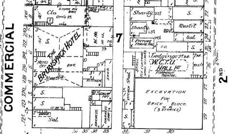 A detail from the 1888 Sanborn Real Estate Map showing the northwest corner of Main and 2nd (Occidental), bottom-right, prepared for the construction of the three-story tall Squire Block, the source also of our brick piles after the Great Fire.