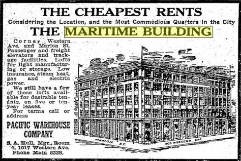 An artist's rendering of the Maritime Building appearing in the Seattle Times for June 29, 1910.
