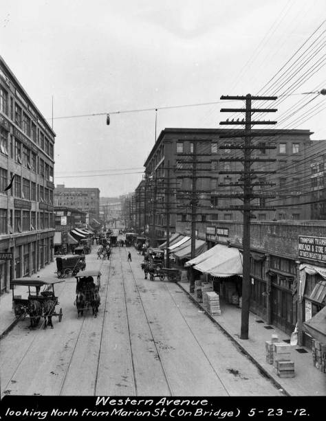 A Municipal Public Works department image looking north on Western from the Marion Street viaduct.