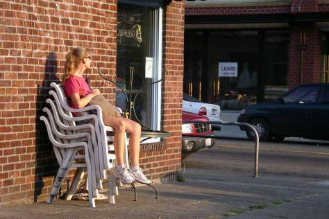 A high chair at the northeast corner of Bagley and 45th Street.