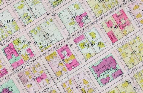A detail from the 1912 Baist Real Estate Map showing the Sorrento at the northwest corner of Madison and Terry (in Block 76).  Kitty-Korner is the Ranke Mansion and behind it the Perry Hotel at the southwest corner of Boren and Madison.